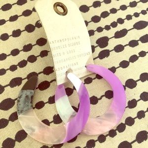 Anthropologie Saturn Hoop Earrings